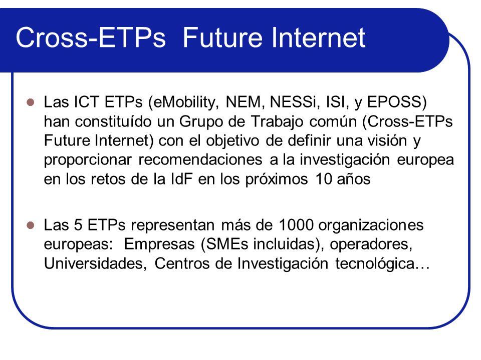 Cross-ETPs Future Internet Las ICT ETPs (eMobility, NEM, NESSi, ISI, y EPOSS) han constituído un Grupo de Trabajo común (Cross-ETPs Future Internet) c