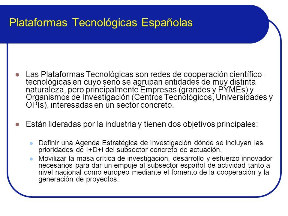 Plataformas Tecnológicas Españolas Las Plataformas Tecnológicas son redes de cooperación científico- tecnológicas en cuyo seno se agrupan entidades de