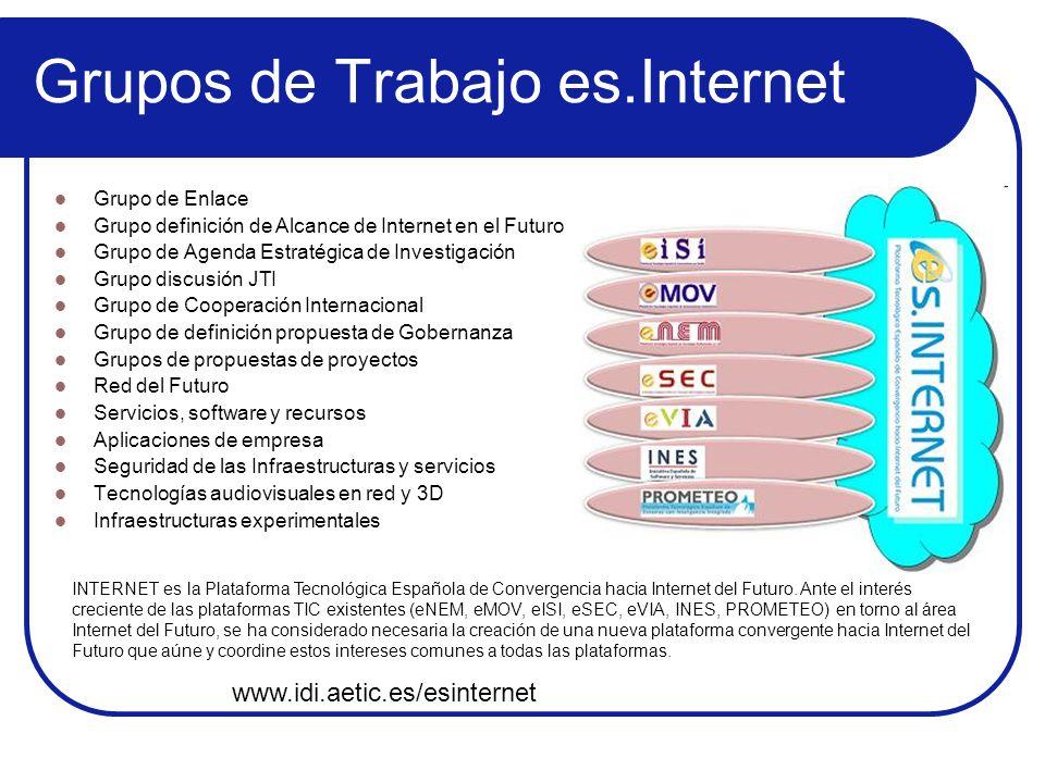 Grupos de Trabajo es.Internet Grupo de Enlace Grupo definición de Alcance de Internet en el Futuro Grupo de Agenda Estratégica de Investigación Grupo