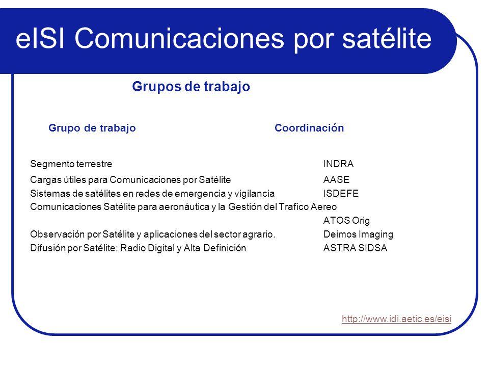 eISI Comunicaciones por satélite Grupo de trabajoCoordinación Segmento terrestreINDRA Cargas útiles para Comunicaciones por Satélite AASE Sistemas de