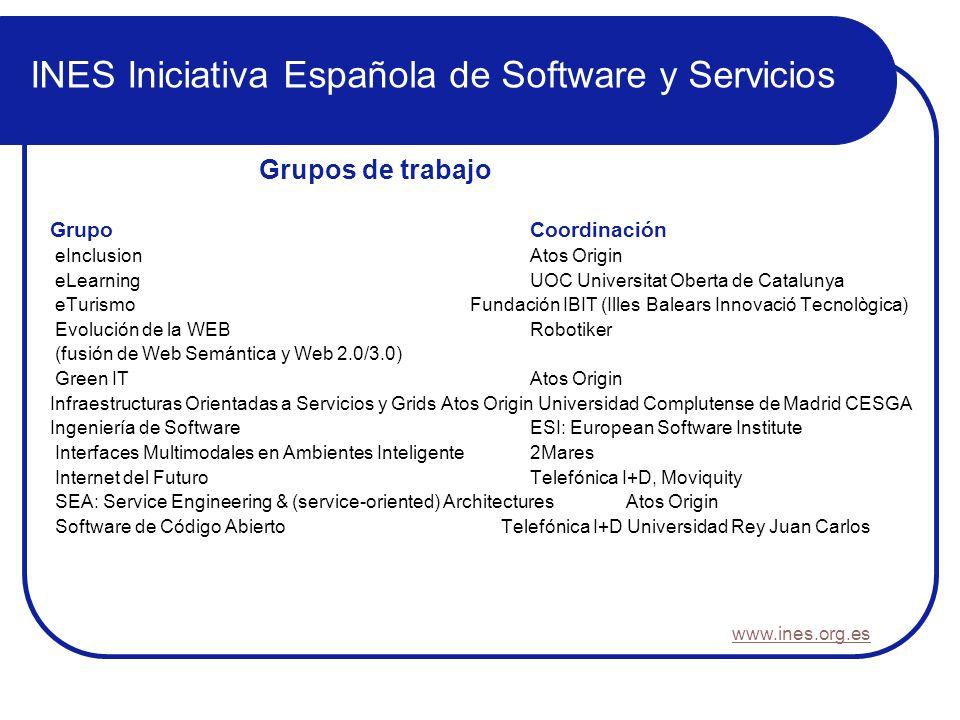 INES Iniciativa Española de Software y Servicios GrupoCoordinación eInclusionAtos Origin eLearningUOC Universitat Oberta de Catalunya eTurismo Fundaci