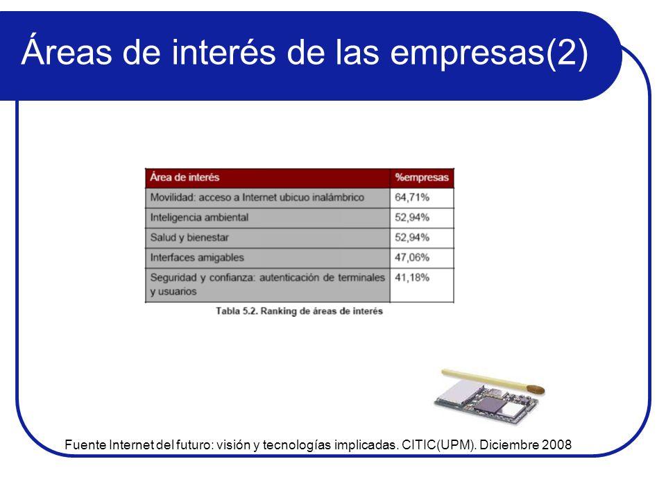 Áreas de interés de las empresas(2) Fuente Internet del futuro: visión y tecnologías implicadas. CITIC(UPM). Diciembre 2008