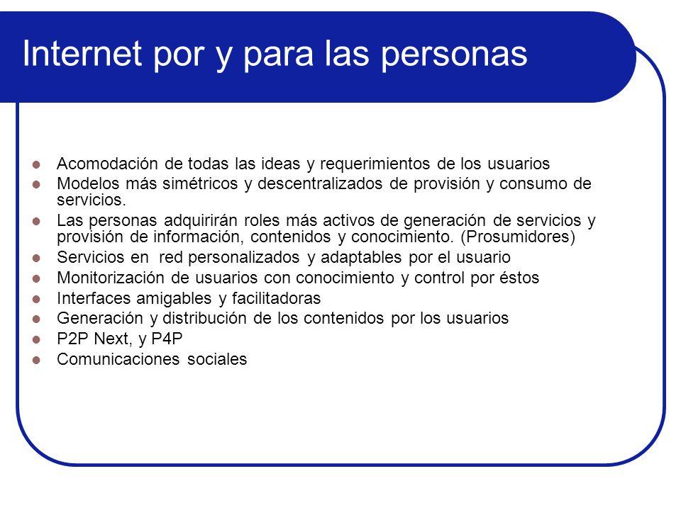 Internet por y para las personas Acomodación de todas las ideas y requerimientos de los usuarios Modelos más simétricos y descentralizados de provisió