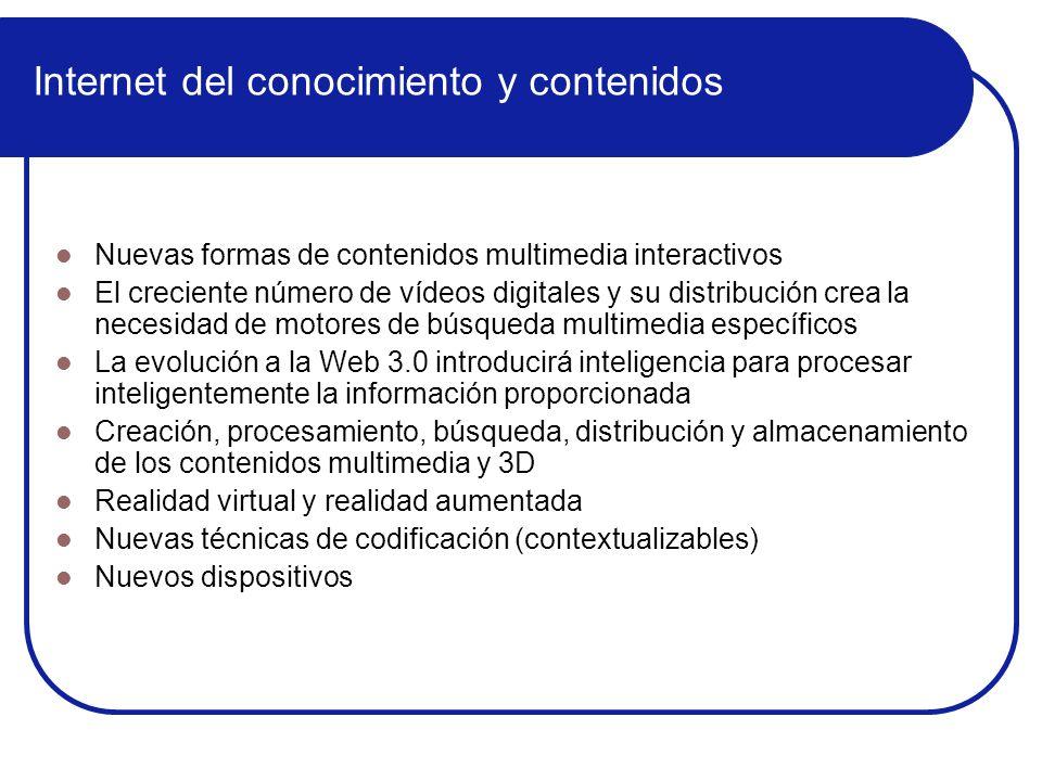 Proyectos IdF coordinados por organizaciones españolas ProyectoCoordParticipantes Area 2 Services Architecture SOA4all Atos Origin ISOCO mCiudad RobotikerT I+D Area 3 Networked Media Systems 2020 3D Media U.