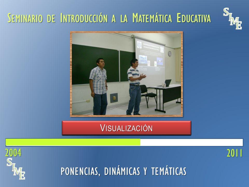 S EMINARIO DE I NTRODUCCIÓN A LA M ATEMÁTICA E DUCATIVA V ISUALIZACIÓN 2011 PONENCIAS, DINÁMICAS Y TEMÁTICAS C ONCEPCIONES DEL P ROFESOR E CUACIÓN L INEAL C REENCIAS DEL P ROFESOR P RÁCTICA DOCENTE P REDICCIÓN M ATEMÁTICA F ORMAS DE D ISCURSO 2004