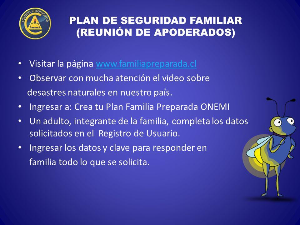 PLAN DE SEGURIDAD FAMILIAR (REUNIÓN DE APODERADOS) Visitar la página www.familiapreparada.clwww.familiapreparada.cl Observar con mucha atención el vid
