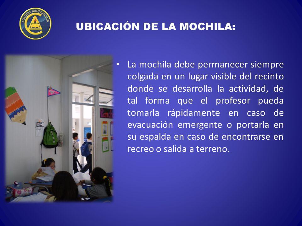 UBICACIÓN DE LA MOCHILA: La mochila debe permanecer siempre colgada en un lugar visible del recinto donde se desarrolla la actividad, de tal forma que