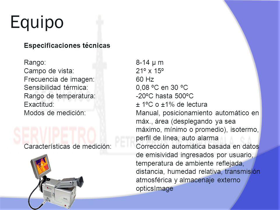 Equipo Especificaciones técnicas Rango: 8-14 µ m Campo de vista:21º x 15º Frecuencia de imagen: 60 Hz Sensibilidad térmica:0,08 ºC en 30 ºC Rango de t