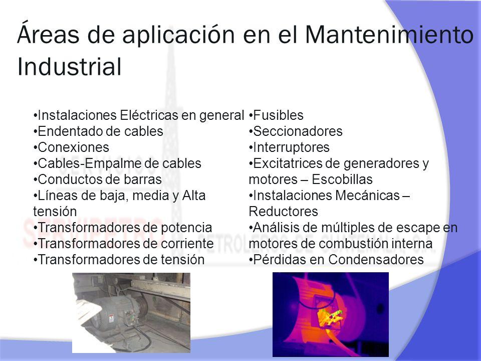 Áreas de aplicación en el Mantenimiento Industrial Aislaciones y Refractarios Hornos y Calderas Instalaciones Frigoríficas-Perdidas de frío Máquinas rotativas Líneas de vapor Reactores Rodamientos Motores eléctricos.