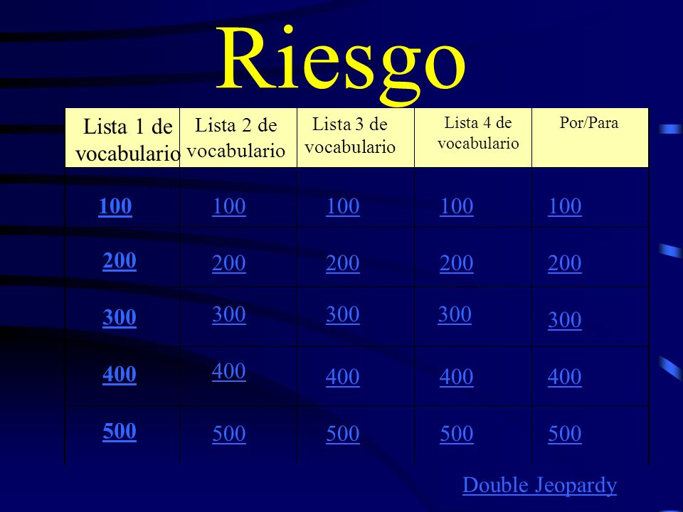 Riesgo Lista 1 de vocabulario Lista 2 de vocabulario Lista 3 de vocabulario Lista 4 de vocabulario Por/Para 100 200 300 400 500 100 200 300 400 500 Double Jeopardy