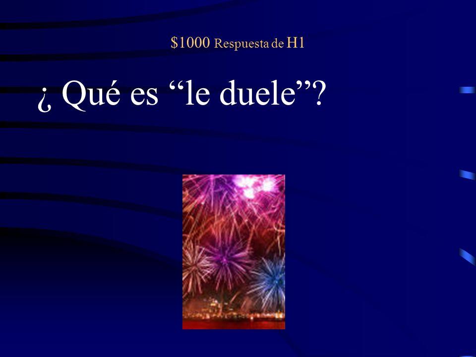 $1000 pregunta de H1 A Bob _____ _______ (doler) la pierna.