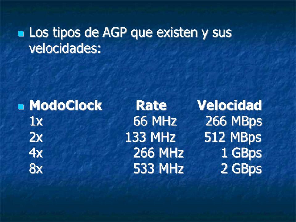 Los tipos de AGP que existen y sus velocidades: Los tipos de AGP que existen y sus velocidades: ModoClock Rate Velocidad 1x 66 MHz 266 MBps 2x 133 MHz