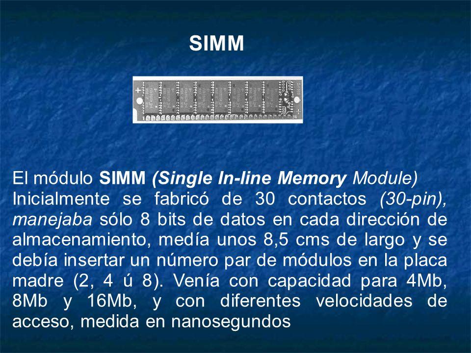 El módulo SIMM (Single In-line Memory Module) Inicialmente se fabricó de 30 contactos (30-pin), manejaba sólo 8 bits de datos en cada dirección de alm