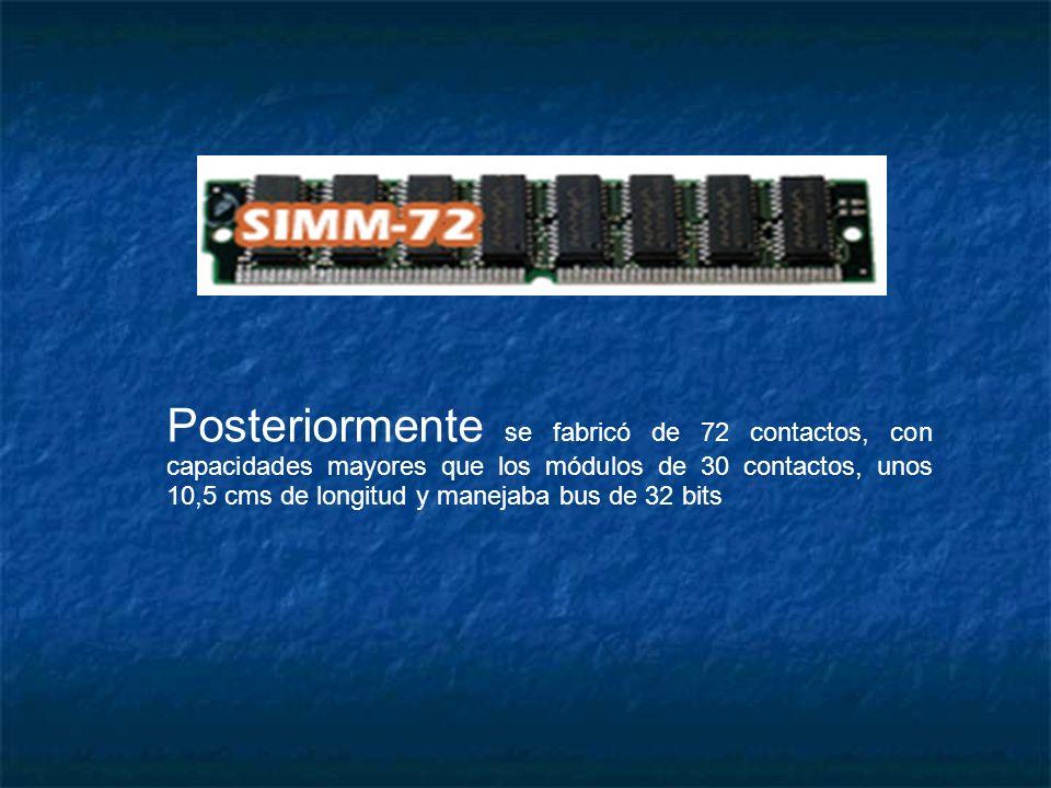 Posteriormente se fabricó de 72 contactos, con capacidades mayores que los módulos de 30 contactos, unos 10,5 cms de longitud y manejaba bus de 32 bit