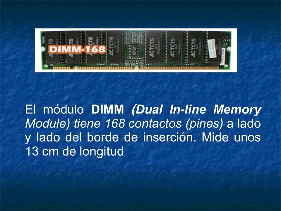 El módulo DIMM (Dual In-line Memory Module) tiene 168 contactos (pines) a lado y lado del borde de inserción. Mide unos 13 cm de longitud