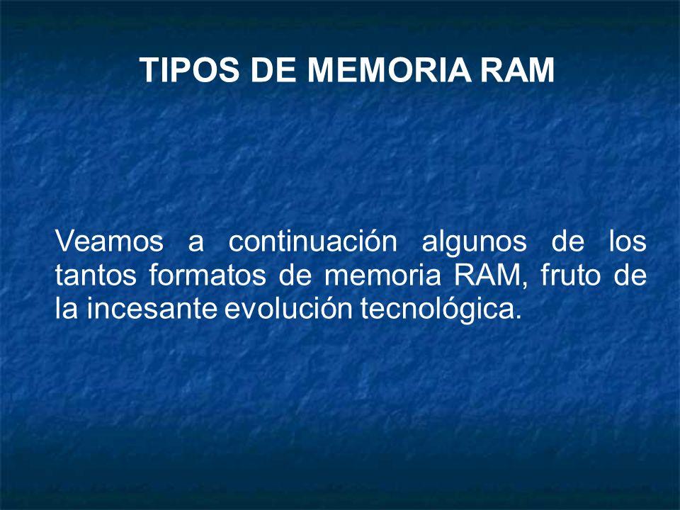 TIPOS DE MEMORIA RAM Veamos a continuación algunos de los tantos formatos de memoria RAM, fruto de la incesante evolución tecnológica.