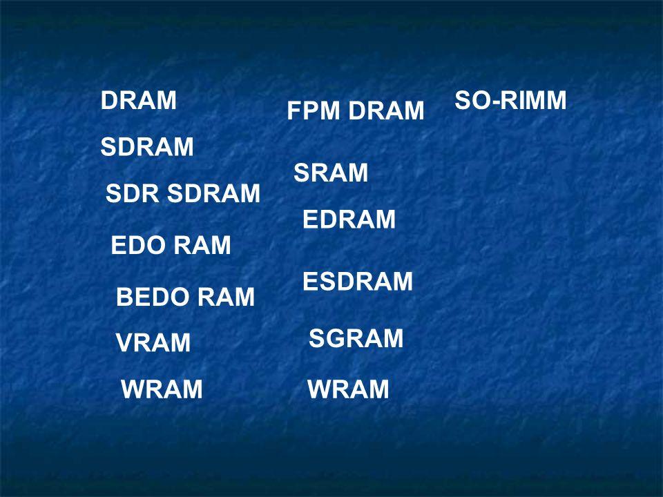 DRAM SDRAM SDR SDRAM EDO RAM BEDO RAM FPM DRAM SRAM EDRAM ESDRAM VRAM SGRAM WRAM SO-RIMM