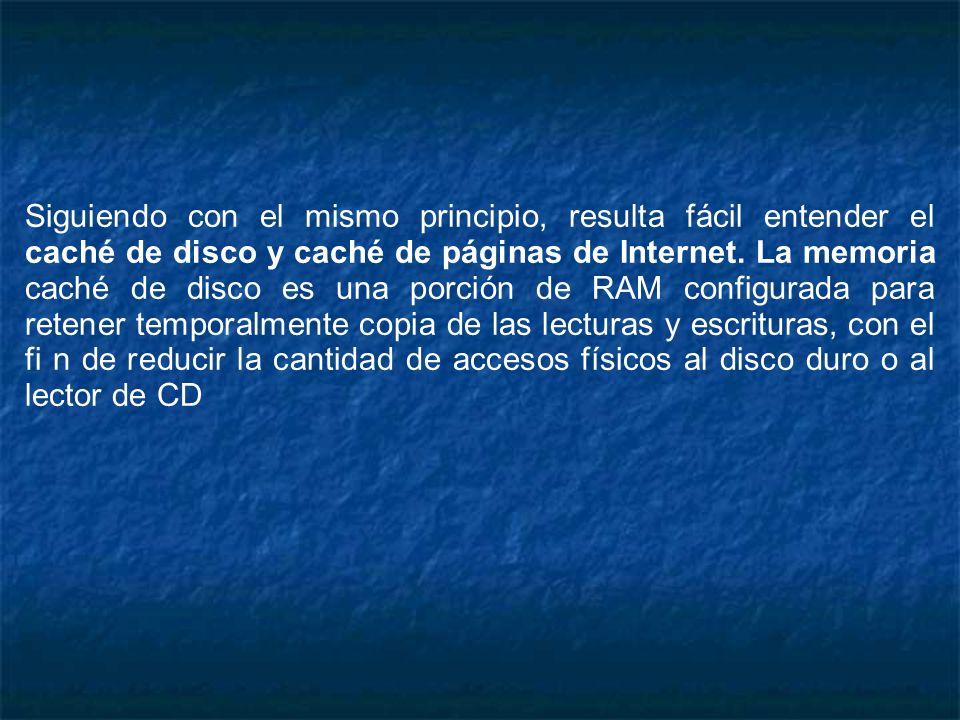 Siguiendo con el mismo principio, resulta fácil entender el caché de disco y caché de páginas de Internet. La memoria caché de disco es una porción de