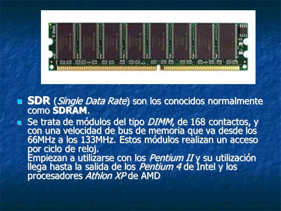 SDR (Single Data Rate) son los conocidos normalmente como SDRAM. SDR (Single Data Rate) son los conocidos normalmente como SDRAM. Se trata de módulos