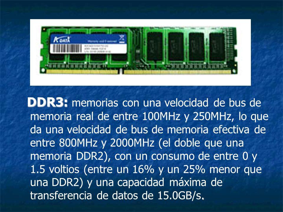 DDR3:. DDR3: memorias con una velocidad de bus de memoria real de entre 100MHz y 250MHz, lo que da una velocidad de bus de memoria efectiva de entre 8