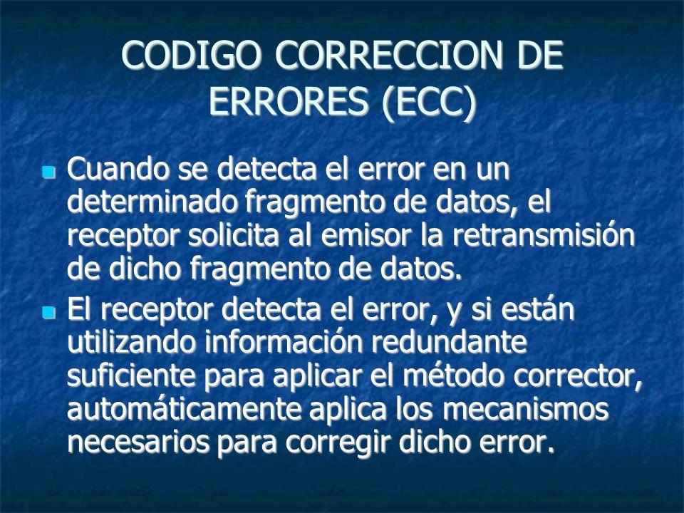 CODIGO CORRECCION DE ERRORES (ECC) Cuando se detecta el error en un determinado fragmento de datos, el receptor solicita al emisor la retransmisión de