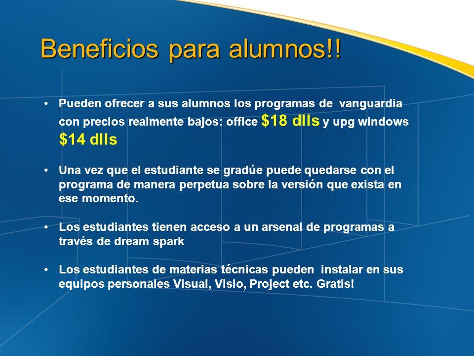 Beneficios para alumnos!! Beneficios para alumnos!! Pueden ofrecer a sus alumnos los programas de vanguardia con precios realmente bajos: office $18 d