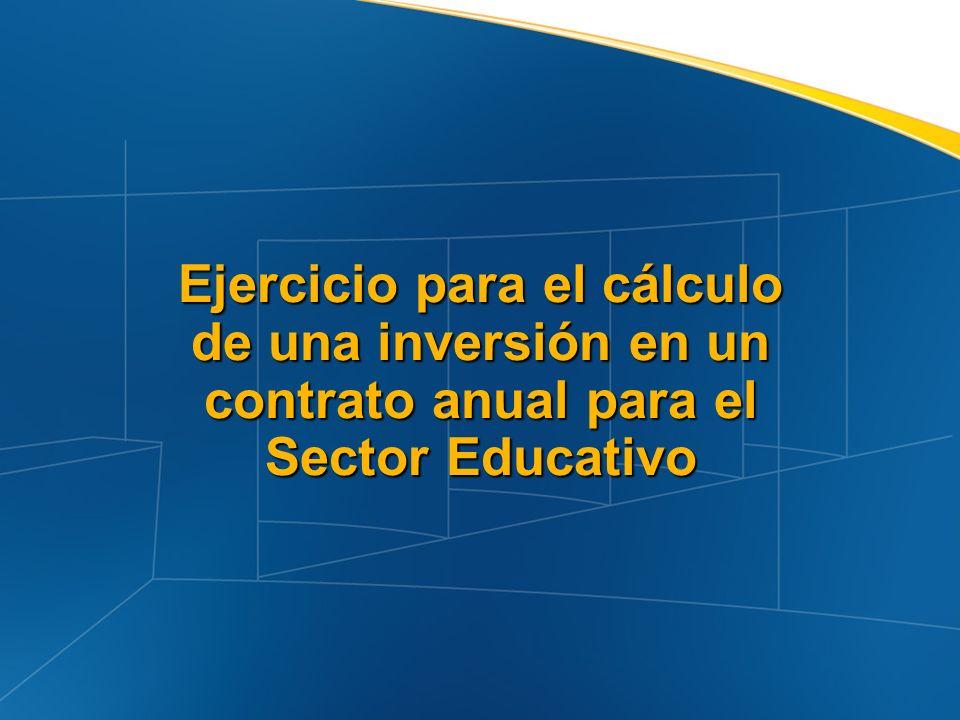 Ejercicio para el cálculo de una inversión en un contrato anual para el Sector Educativo