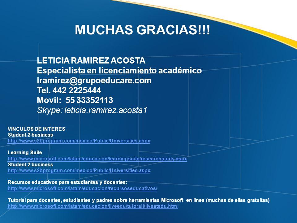 MUCHAS GRACIAS!!! LETICIA RAMIREZ ACOSTA Especialista en licenciamiento académico lramirez@grupoeducare.com Tel. 442 2225444 Movil: 55 33352113 Skype:
