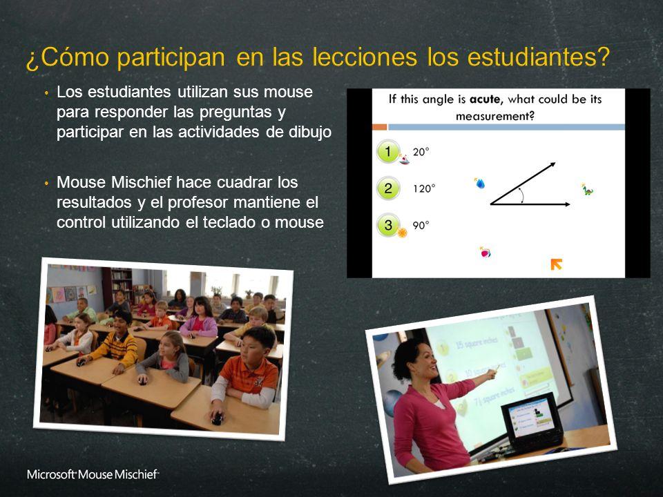 Los estudiantes utilizan sus mouse para responder las preguntas y participar en las actividades de dibujo Mouse Mischief hace cuadrar los resultados y