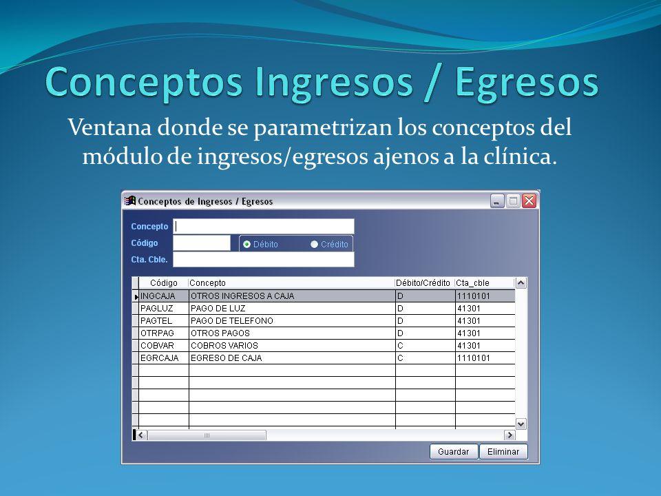 Ventana donde se parametrizan los conceptos del módulo de ingresos/egresos ajenos a la clínica.