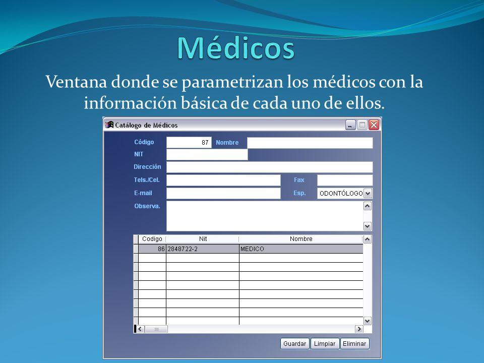 Ventana donde se asocian las salas parametrizadas con anterioridad a los médicos.