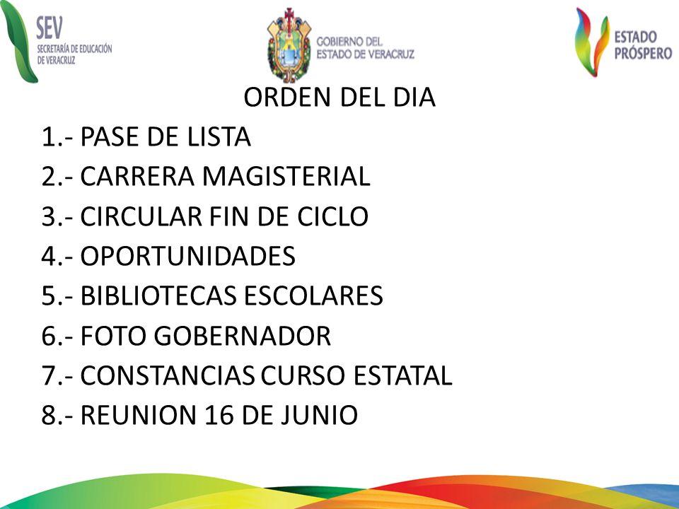 ORDEN DEL DIA 1.- PASE DE LISTA 2.- CARRERA MAGISTERIAL 3.- CIRCULAR FIN DE CICLO 4.- OPORTUNIDADES 5.- BIBLIOTECAS ESCOLARES 6.- FOTO GOBERNADOR 7.-