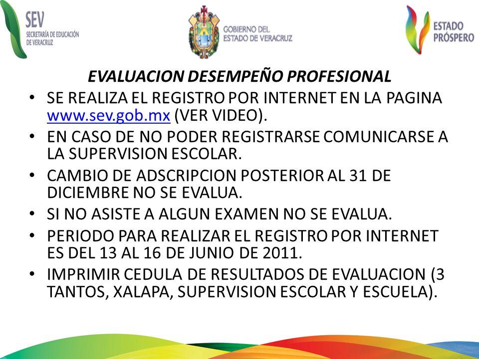 EVALUACION DESEMPEÑO PROFESIONAL SE REALIZA EL REGISTRO POR INTERNET EN LA PAGINA www.sev.gob.mx (VER VIDEO). www.sev.gob.mx EN CASO DE NO PODER REGIS