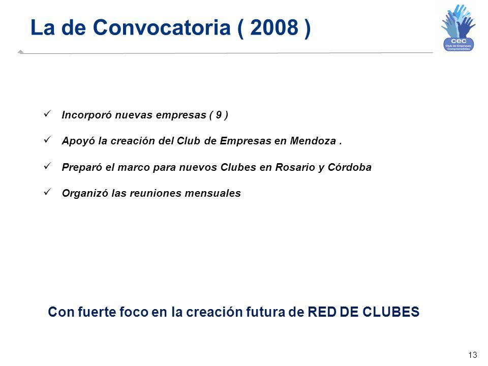 13 La de Convocatoria ( 2008 ) Con fuerte foco en la creación futura de RED DE CLUBES Incorporó nuevas empresas ( 9 ) Apoyó la creación del Club de Empresas en Mendoza.