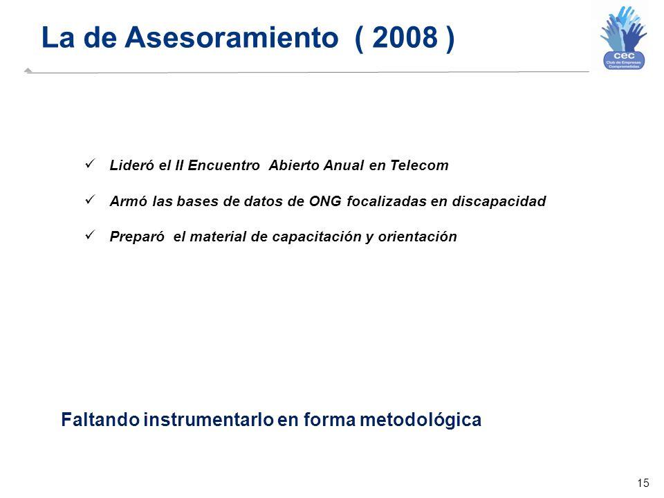 15 La de Asesoramiento ( 2008 ) Lideró el II Encuentro Abierto Anual en Telecom Armó las bases de datos de ONG focalizadas en discapacidad Preparó el material de capacitación y orientación Faltando instrumentarlo en forma metodológica