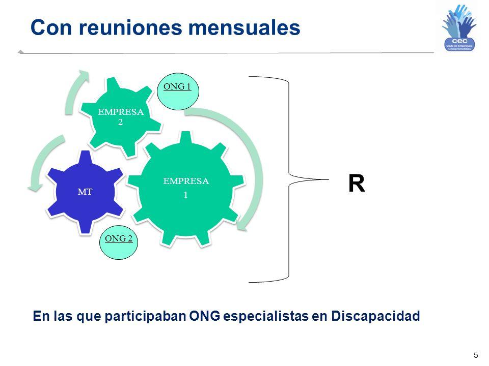 5 Con reuniones mensuales EMPRESA 1 MT EMPRESA 2 En las que participaban ONG especialistas en Discapacidad R ONG 2 ONG 1