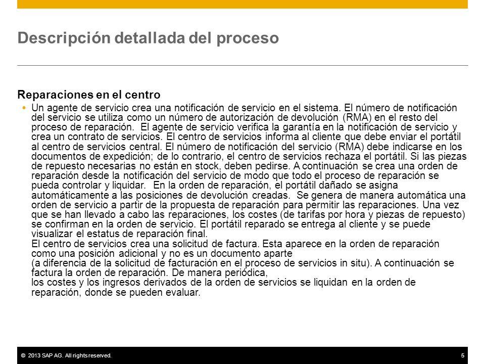 ©2013 SAP AG. All rights reserved.5 Descripción detallada del proceso Reparaciones en el centro Un agente de servicio crea una notificación de servici