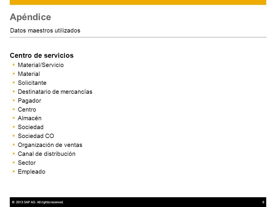 ©2013 SAP AG. All rights reserved.8 Apéndice Datos maestros utilizados Centro de servicios Material/Servicio Material Solicitante Destinatario de merc
