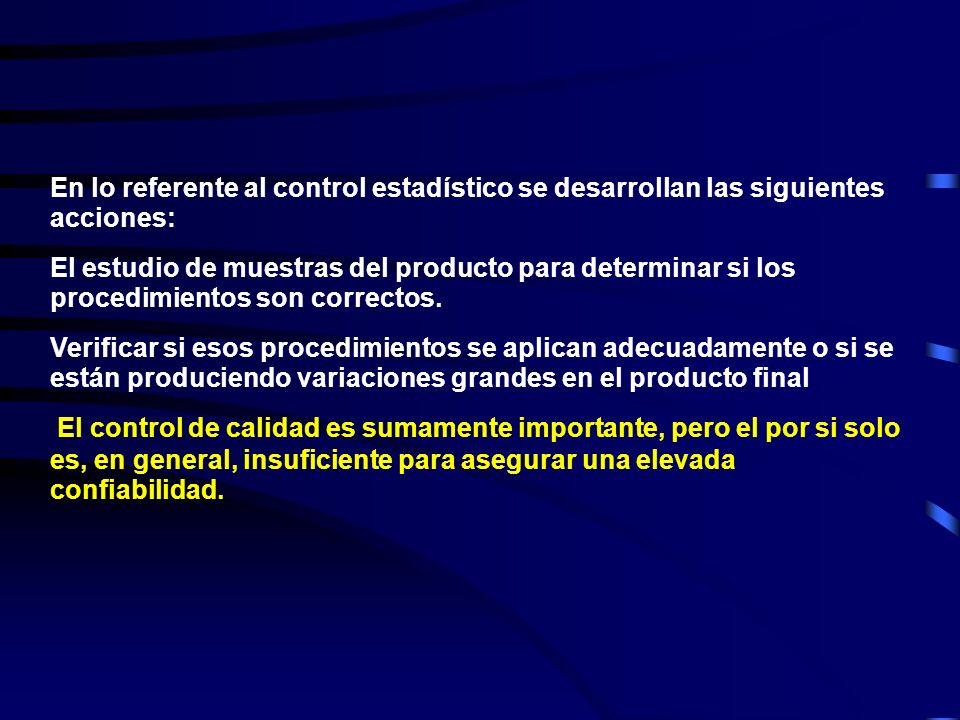 En lo referente al control estadístico se desarrollan las siguientes acciones: El estudio de muestras del producto para determinar si los procedimientos son correctos.