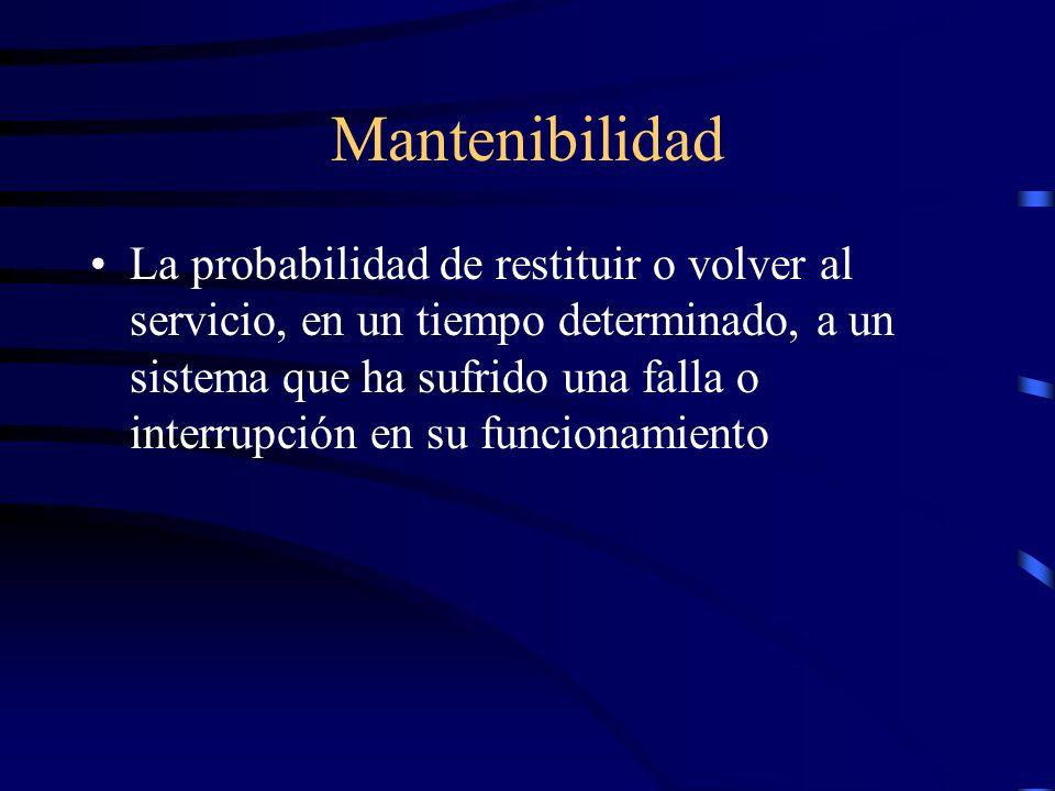 Mantenibilidad La probabilidad de restituir o volver al servicio, en un tiempo determinado, a un sistema que ha sufrido una falla o interrupción en su funcionamiento