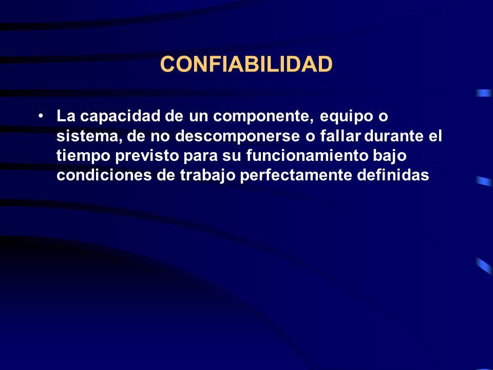 CONFIABILIDAD La capacidad de un componente, equipo o sistema, de no descomponerse o fallar durante el tiempo previsto para su funcionamiento bajo condiciones de trabajo perfectamente definidas
