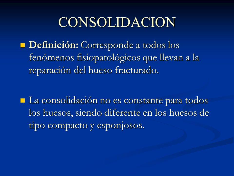 CONSOLIDACION Definición: Corresponde a todos los fenómenos fisiopatológicos que llevan a la reparación del hueso fracturado. Definición: Corresponde