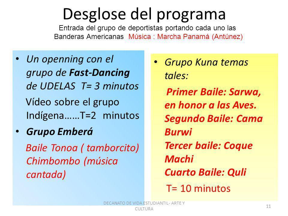 Desglose del programa Un openning con el grupo de Fast-Dancing de UDELAS T= 3 minutos Vídeo sobre el grupo Indígena……T=2 minutos Grupo Emberá Baile To