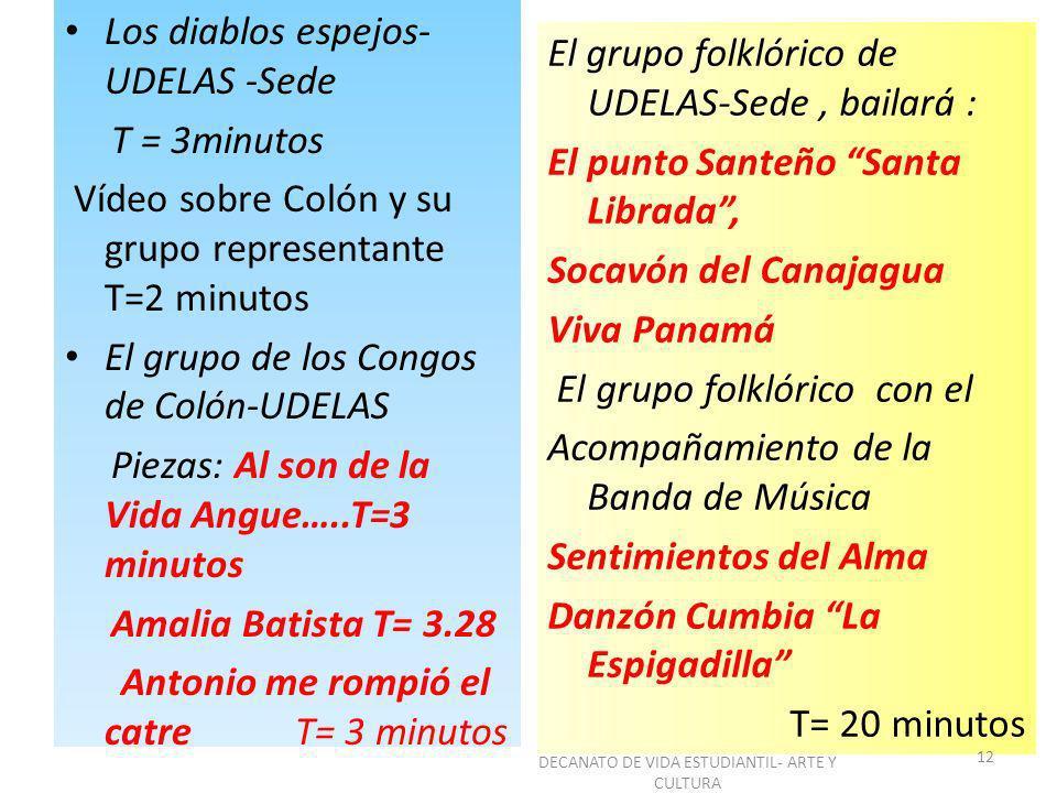 Los diablos espejos- UDELAS -Sede T = 3minutos Vídeo sobre Colón y su grupo representante T=2 minutos El grupo de los Congos de Colón-UDELAS Piezas: A
