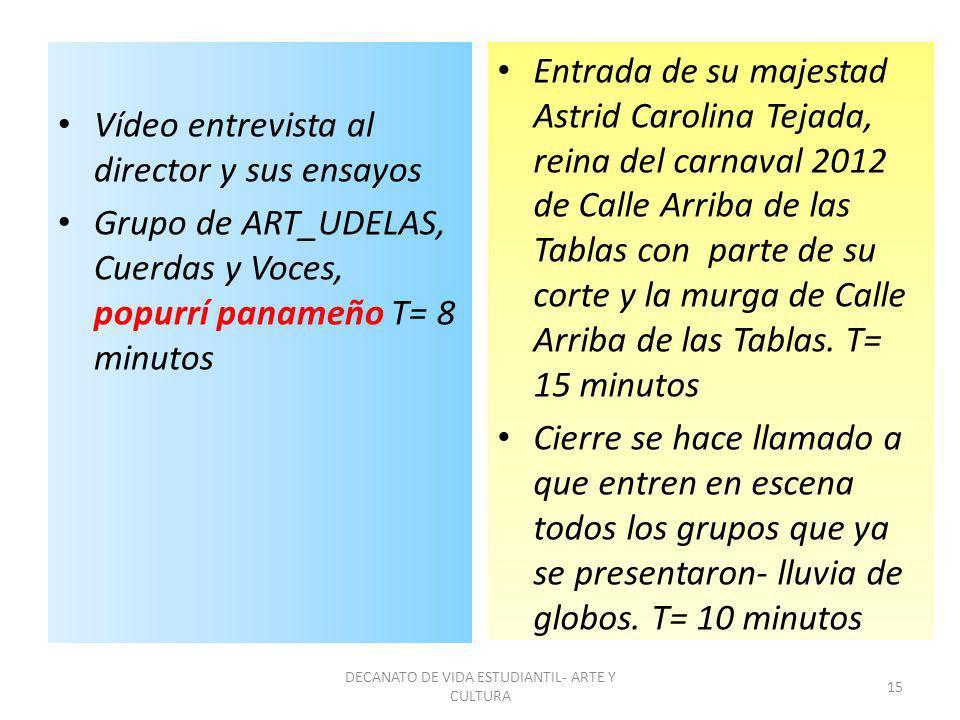 Vídeo entrevista al director y sus ensayos Grupo de ART_UDELAS, Cuerdas y Voces, popurrí panameño T= 8 minutos Entrada de su majestad Astrid Carolina