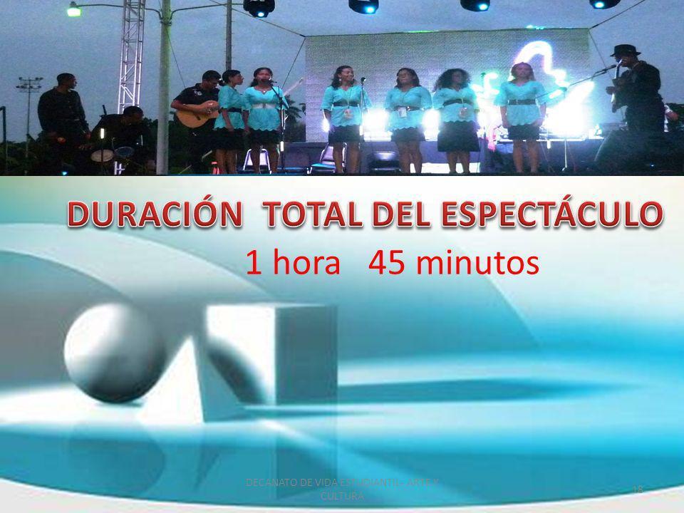 1 hora 45 minutos 18 DECANATO DE VIDA ESTUDIANTIL- ARTE Y CULTURA