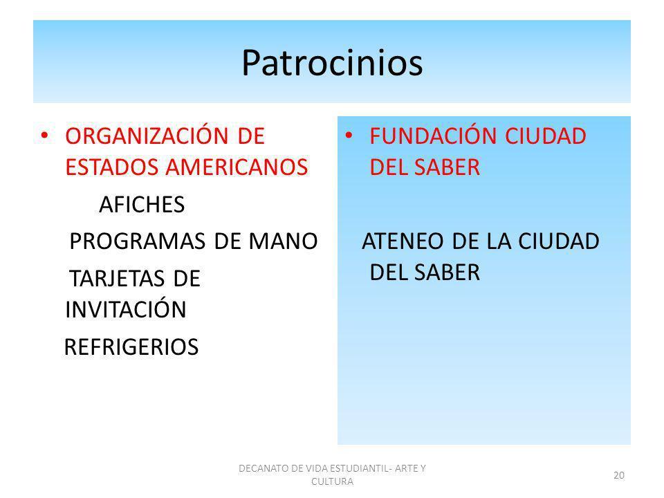 Patrocinios ORGANIZACIÓN DE ESTADOS AMERICANOS AFICHES PROGRAMAS DE MANO TARJETAS DE INVITACIÓN REFRIGERIOS FUNDACIÓN CIUDAD DEL SABER ATENEO DE LA CI