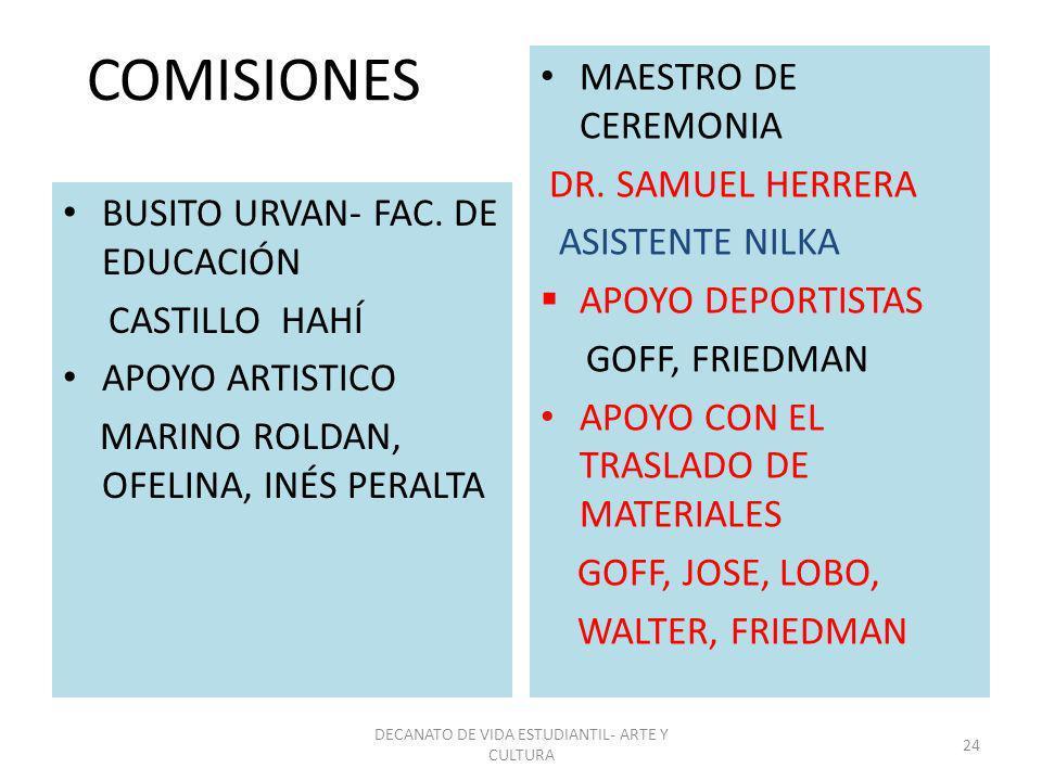 COMISIONES BUSITO URVAN- FAC. DE EDUCACIÓN CASTILLO HAHÍ APOYO ARTISTICO MARINO ROLDAN, OFELINA, INÉS PERALTA MAESTRO DE CEREMONIA DR. SAMUEL HERRERA