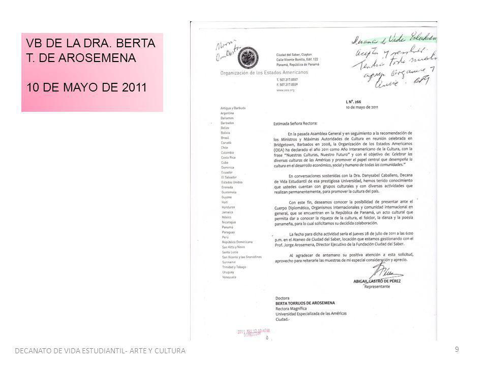 9 VB DE LA DRA. BERTA T. DE AROSEMENA 10 DE MAYO DE 2011