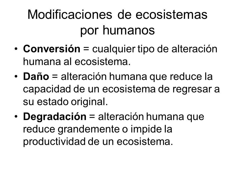 Modificaciones de ecosistemas por humanos Conversión = cualquier tipo de alteración humana al ecosistema. Daño = alteración humana que reduce la capac
